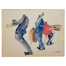 Leo Meiersdorff (1934-1994) Original Watercolor- Jazz Musicians