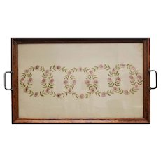Antique Scandinavian Embroidery Mounted in a Serving Tray