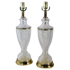 "Table Lamps Pressed Glass Vintage Hollywood Regency / Glam ""Style"" - Pair"