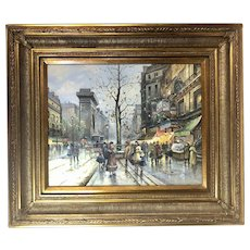 Original Oil Painting French Street Scene - Vintage