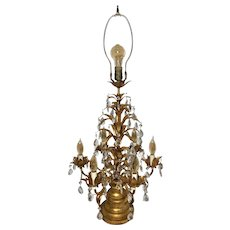 Antique Crystal Gold Leaf Table Lamp / Girandoles Candelabra