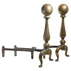 Brass Cannonball Hand Hammered Andirons