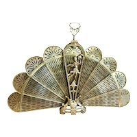 Art Deco Fireplace Screen Brass Ornate Peacock Fan