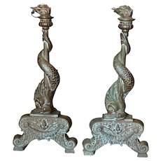 Pair of Antique Bronze Andirons Chenet Early 19th Century