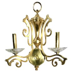 """Vintage Solid Brass Scrolled Direct Wire """"Candle"""" Light Wall Sconce"""
