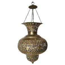 Vintage Moroccan / Persian Pierced Brass Teardrop Large Lantern Pendant