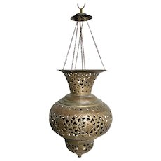 Vintage Moroccan Turkish Pierced Brass Pendant Teardrop Lamp Lantern