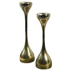 Mid-Century Modern Brass Candle Holders Taper Holders