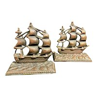 """Nautical Brass Pirate Ship """"Constitution"""" Cast Copper Vintage Bookends 1950's"""