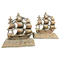 "Nautical Brass Pirate Ship ""Constitution"" Cast Copper Vintage Bookends 1950's"