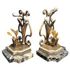 Pair of Marble & Metal Beads Book Ends Antique Art Nouveau Style