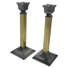 Pair of Brass and Pewter Candle Holders Poole Silver Co.