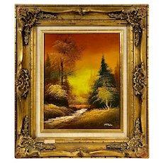 """Oil /Signed """"Autumn Dawn"""" Original Certified Guilt Gesso Gold Leaf Frame Vintage"""