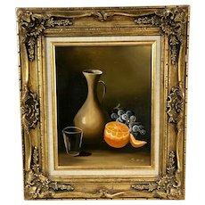 """""""Fruit and Vase"""" Certified Original Oil Signed / Guilt Gold Gesso Leaf"""