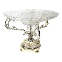 Silver-Plate and Glass Centerpiece Epergne Mid 20th Century