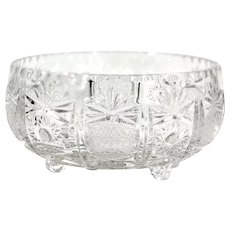 Brilliant Cut Crystal Footed Round Centerpiece Bowl