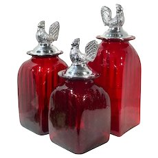 Mexican Hand Crafted Red Glass Pewter Rooster Lid Canisters Kitchen Set