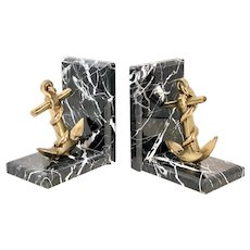 Mid 20th Century Brass Anchor Black Marble Bookends