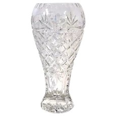 Heavy Cut Leaded Floral Blown Crystal Vase