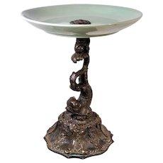 Antique Italian Bronze Crackle Vase Compote Dish