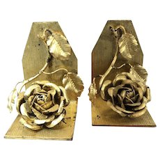 Vintage Rose Gilt Gold Metal Book Ends