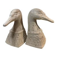 Vintage Pottery Duck Bookends