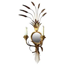 Wall Mirror Sconce Candle Holder Hollywood Regency