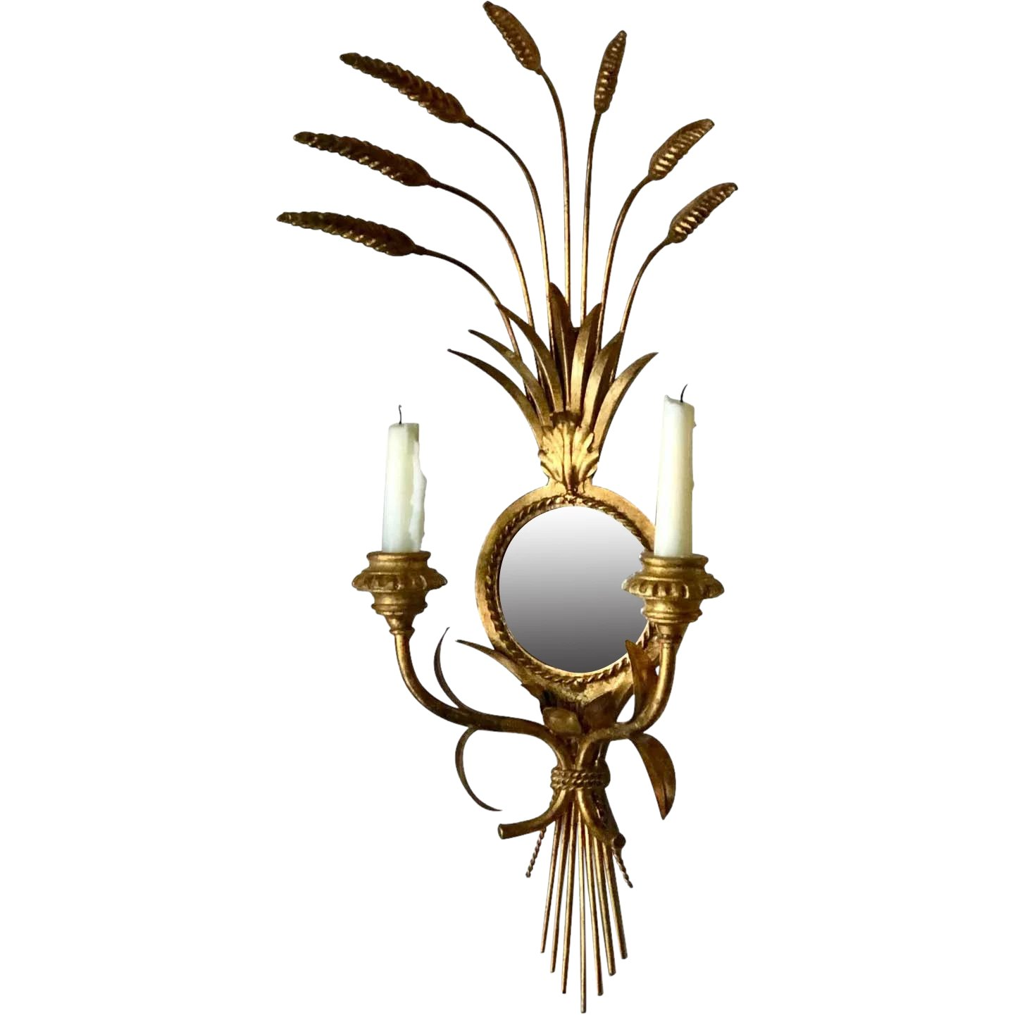 Image of: Wall Mirror Sconce Candle Holder Hollywood Regency The Gilded Lion Ruby Lane