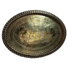Brass Etched Traditional Serving Tray