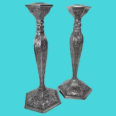 Antique 1900's Silver Plated Dutch Repousse Candle Holders