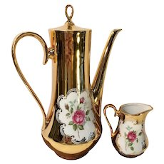 Bavarian Gold Plated Tea Pot and Lidded Creamer Set