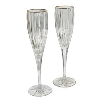 Mikasa Golden Tiara Crystal Gold Rim Champagne Glasses