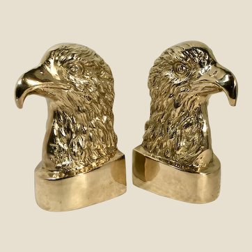 """Solid Brass Eagle Bookends - Federal """"Style"""" / 1970"""" MCM Bald Eagle LARGE statue"""
