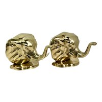 """Solid Brass Elephant bookends Trunks Up """"Good Luck"""" MCM pair - Vintage"""
