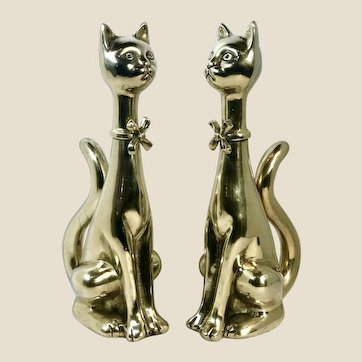 Andirons Solid Brass Siamese Cat Statues Fireplace Guards -  TALL Set of 2
