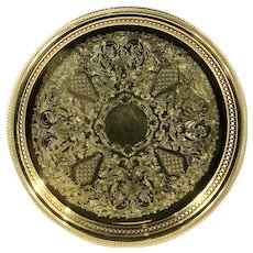 Round Gold Electroplated Serving Tray / Etched / Pierced edge / Vanity / Bar Tray