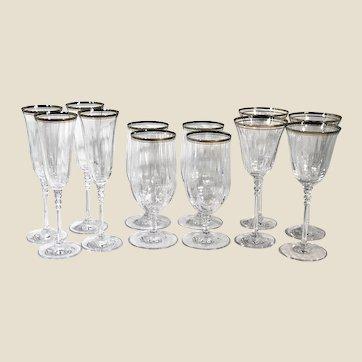 Mikasa Sonata Platinum Set - 12 pieces Vintage Crystal / Water Glasses, Ice Tea Glasses, Champagne Flutes