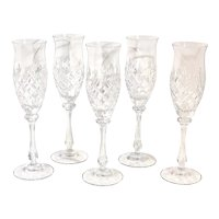 Mikasa Blown Cut Chateau Champagne Flute Glasses