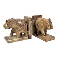 Carved Stone Elephant Bookends