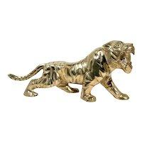 Boho Chic Solid Brass Tiger Statue
