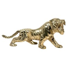 Boho Chic Solid Brass Tiger Statue