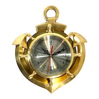 Vintage Solid Brass Nautical Anchor Clock