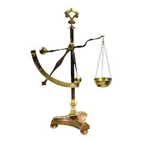 20th Century Apothecary Brass Wood Base Mercantile Scale
