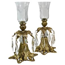 Baroque Hollywood Regency Style Brass and Crystal Hurricanes Candle Holders