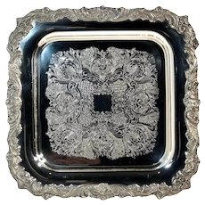 """Sheffield """"English Baroque"""" Style Etched Silver Plated Serving Tray"""