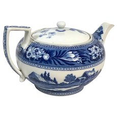 English Traditional Follow Deer Wedgwood Blue and White Tea Pot
