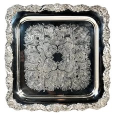 Sheffield Square Silver Plated Shells Floral Footed Etched Serving Tray
