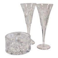 Waterford Millennium Set / Champagne Flutes / Wine Coaster / Cut Crystal