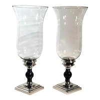 Hurricane Candle Holders XL Silver Metal / Black Taper / Pillar Holders Pair