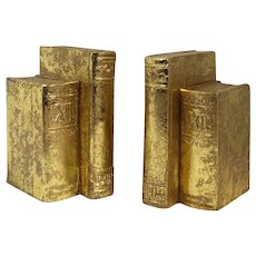 """Vintage 1995 Gold """"Books"""" Bookends - a Pair"""
